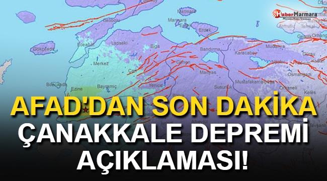 AFAD'dan Çanakkale Depremiyle İlgili Açıklama