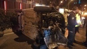 259 promil alkollü sürücü takla attı: 1 yaralı