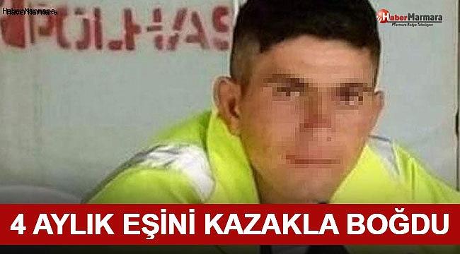 4 Aylık Eşini Kazakla Öldürdü!