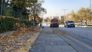 Ankara Büyükşehir Belediyesi ekipleri cadde ve sokakları yapraklardan temizliyor
