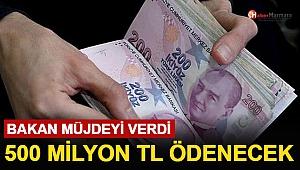 Bakan Müjdeyi Verdi: 500 Milyon TL Ödenecek