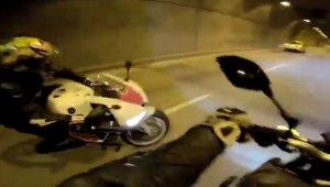 """Dolmabahçe Tüneli'nde """"drift"""" kazası kamerada"""