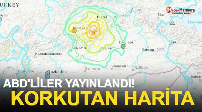Elazığ'daki Depremle İlgili ABD'den Korkutan Harita!