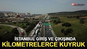 İstanbul Giriş ve Çıkışında Oluşan Kilometrelerce Kuyruk Havadan Görüntülendi