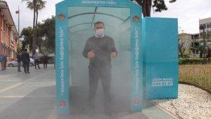 Alanya'da korona virüse karşı dezenfeksiyon tüneli kuruldu