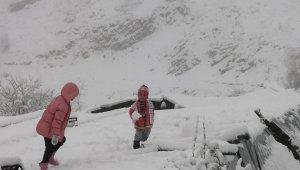 Artvin'de Mayıs ayında kar yağdı, hayvancılıkla uğraşanlar zor anlar yaşadı