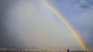 Başkent'te gökkuşağı görsel bir şölen oluşturdu