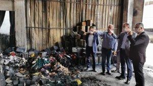 Ceylan ve Ahlatcı'dan işyerleri yanan esnaflara ziyaret