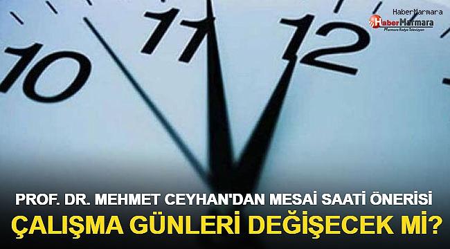 Prof. Dr. Mehmet Ceyhan'dan son dakika önerisi: Mesai saatleri değişsin