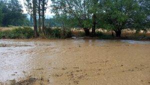Bir anda yağan yağmur ve dolu ile köyü sel bastı