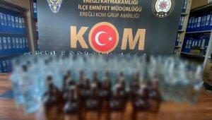 Ereğli'de 116 şişe sahte içki ele geçirildi