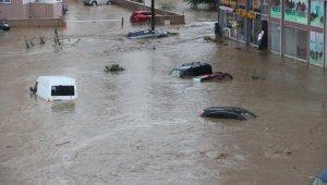 Rize'de ev ve iş yerlerini su bastı, araçlar suyun altında kaldı