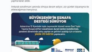 Ankara'da Özel Toplu Taşıma Kooperatifleri esnafı için indirim