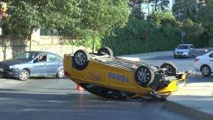 Kartal'da kavşağa hızlı giren taksi takla attı: 1 yaralı