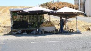 Kavurucu sıcakta karpuz satarak ekmek parasını kazanıyor