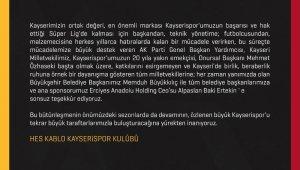 Kayserispor'dan teşekkür mesajı