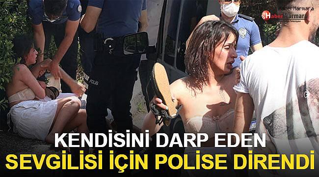 Kendisini darp eden sevgilisi için polise direndi