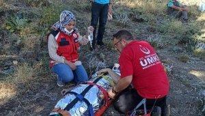 Kırsalda attan düşen veteriner helikopterle kurtarıldı