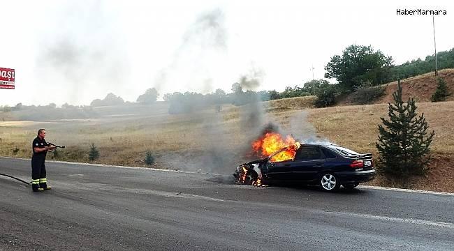 LPG'li otomobil alev alev yandı