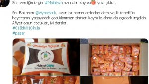Başkan Çınar'ın '81 il'de 81 okula kayısı' hediye sözü gerçeğe dönüştü
