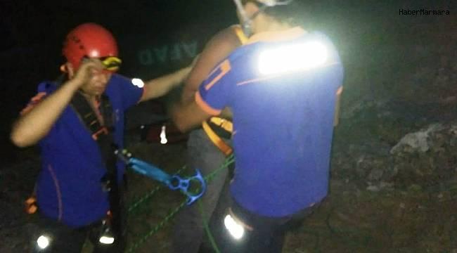 Dağda mahsur kalan vatandaşı AFAD ekipleri kurtardı