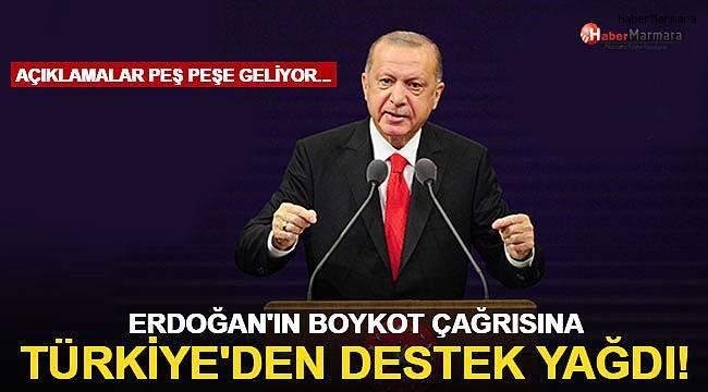 Cumhurbaşkanı Erdoğan'ın boykot çağrısına Türkiye'den destek yağdı!