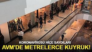 AVM'de metrelerce kuyruk! Korona virüs hiçe sayıldı