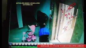 Bebek arabası hırsızlığı güvenlik kamerasına yansıdı
