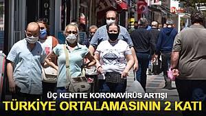 Türkiye ortalamasının 2 katı! Üç kentte korona virüs artışı