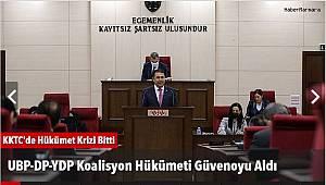 UBP-DP-YDP Koalisyon Hükümeti Güvenoyu Aldı