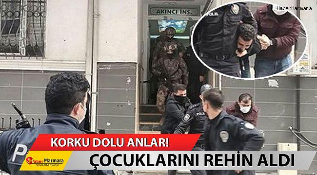 İstanbul'da korku dolu anlar! İki çocuğunu bıçakla rehin aldı...