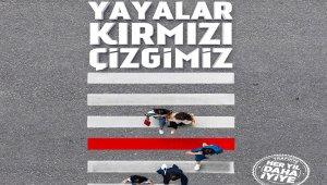 Erzincan'da yaya geçidine kırmızı çizgi çekildi
