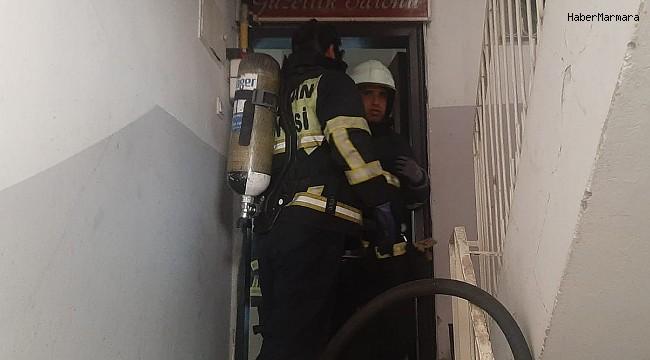Kadın kuaföründe korkutan yangın