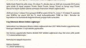 '2021Nefes Kredisi' 1 Haziran tarihi itibarı ile uygulamaya alınacak