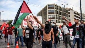 Atina'daki Filistinlilerden İsrail karşıtı protesto