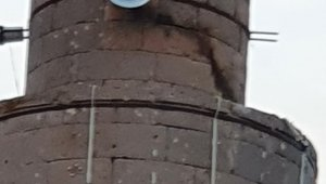 Cami minaresine düşen yıldırım ağır hasara neden oldu