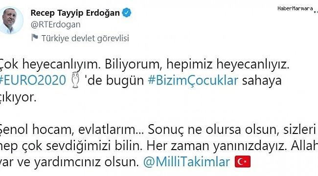 Cumhurbaşkanı Erdoğan'dan Millilere destek paylaşımı