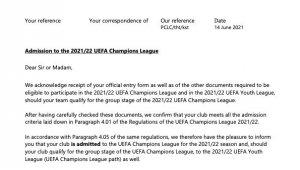 UEFA, Galatasaray'a Şampiyonlar Ligi'ne resmi katılım belgesi gönderdi