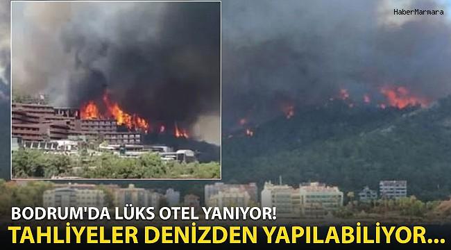 Bodrum'da Lüks Otel Yanıyor! Vatandaşlar Denizden Tahliye Edildi...