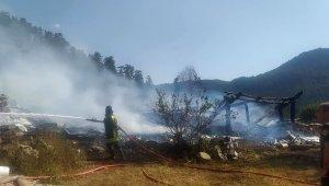 Tosya'da meydana gelen yangında 2 yayla evi yandı