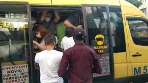 Vaka sayıları artmasına rağmen Esenyurt minibüslerinde yine aynı manzara