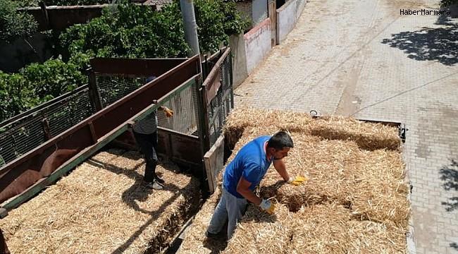 Yangında zarar gören çiftçiler yem ve saman bağışı