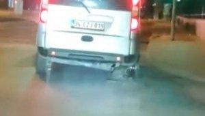 Arnavutköy'de lastiği patlayan araç jantın üzerinde ilerledi
