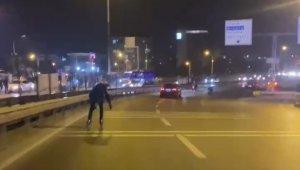 Trafikte tehlikeli paten yolculuğu hüsranla bitti