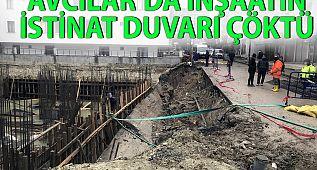 #Avcılar'da yağış nedeniyle inşaatın istinat duvarı çöktü !